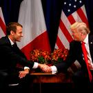 US president Donald Trump meets French president Emmanuel Macron in New York last September. Photo: REUTERS/Kevin Lamarque