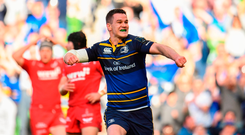 Johnny Sexton shows his emotions after scoring Leinster's fifth try against Scarlets. Photo: Sam Barnes/Sportsfile
