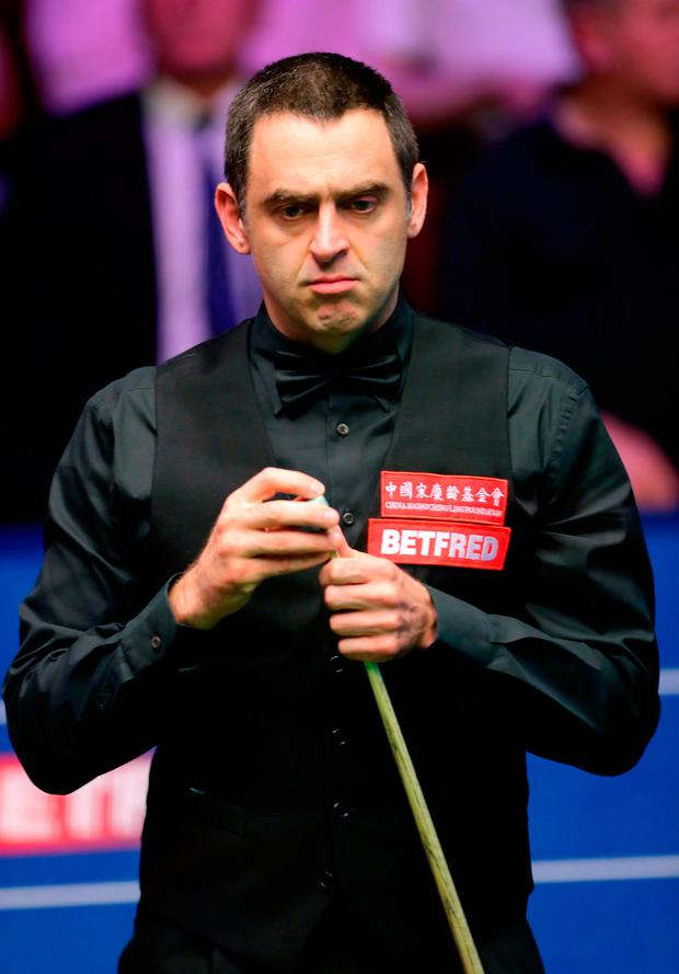 Ronnie O'Sullivan during day one of the 2018 Betfred World Championship at The Crucible, Sheffield. Photo: PA