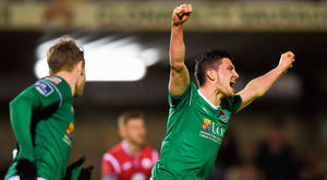 Graham Cummins of Cork City celebrates after team-mate Jimmy Keohane scored their side's first goal. Photo: Sportsfile