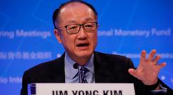 World Bank President Jim Yong Kim speaks at a news conference ahead of the spring meeting of the IMF and World Bank in Washington, U.S. REUTERS/Aaron P. Bernstein