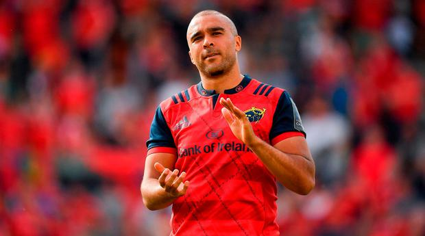 Simon Zebo of Munster salutes the Munster fans