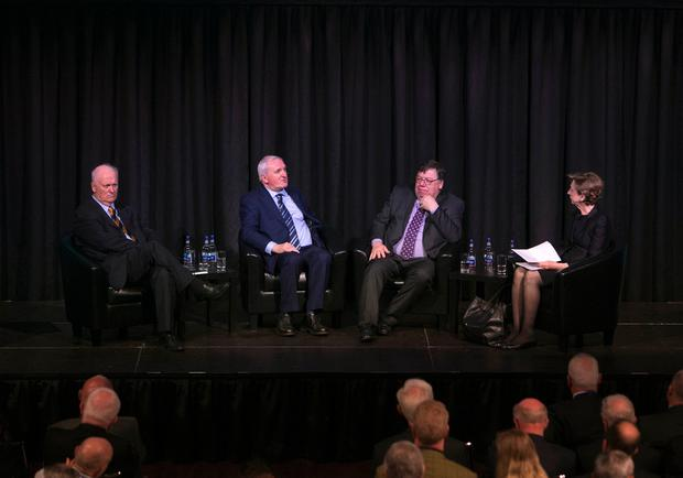 At an Institute of International and European Affairs (IIEA) conference 'Beyond Brexit: Ireland & the Future of Europe' which took place at the Mansion House Dublin. Pictured are former Taoisigh, John Bruton, Taoiseach na hEireann 1994-1997, Bertie Ahern, Taoiseach na hEireann 1997-2008 Brian Cowen, Taoiseach na hEireann 2008-2011 and Presenter Olivia O'Leary. Picture Colm Mahady / Fennells - Fennell Photography Dublin.