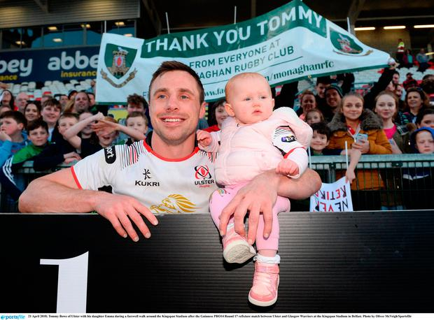 Tommy Bowe of Ulster with his daughter Emma during a farewell walk around the Kingspan Stadium after the Guinness PRO14 Round 17 refixture match between Ulster and Glasgow Warriors at the Kingspan Stadium in Belfast. Photo by Oliver McVeigh/Sportsfile