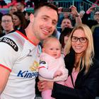 Tommy Bowe of Ulster with his daughter Emma and wife Lucy during a farewell walk around the Kingspan Stadium after the Guinness PRO14 Round 17 refixture match between Ulster and Glasgow Warriors at the Kingspan Stadium in Belfast. Photo by Oliver McVeigh/Sportsfile