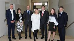 L-R DWF Dublin Partners, Louis Burke, Banking Partner, Nina Gaston, Litigation Partner, Michael Neary, Head of Real Estate, Lorna McAuliffe, Commercial Litigation Partner, Ross Little, Executive Partner, Eimear Collins, Litigation Partner, Garrett Monaghan, Corporate Partner