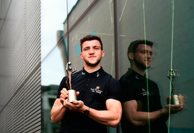 Galway's Damien Comer with his PwC GAA/GPA footballer of the month award for April. Photo by David Fitzgerald/Sportsfile