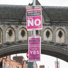 Posters for the up coming referendum on Abortion. Photo: Kyran O'Brien