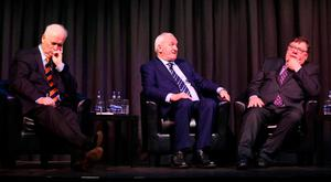 Former Taoisigh John Bruton (1994-1997), Bertie Ahern (1997-2008) and Brian Cowen (2008-2011) at the IIEA Brexit conference. Photo: RollingNews.ie