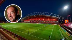 Thomond Park and (inset) Peter Malone