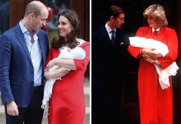Prince William and Kate Middleton holding their third child outside the Lindo Wing of St Mary's Hospital on April 23, left, and Prince Charles with Princess Diana holding Prince Harry in 1984, right