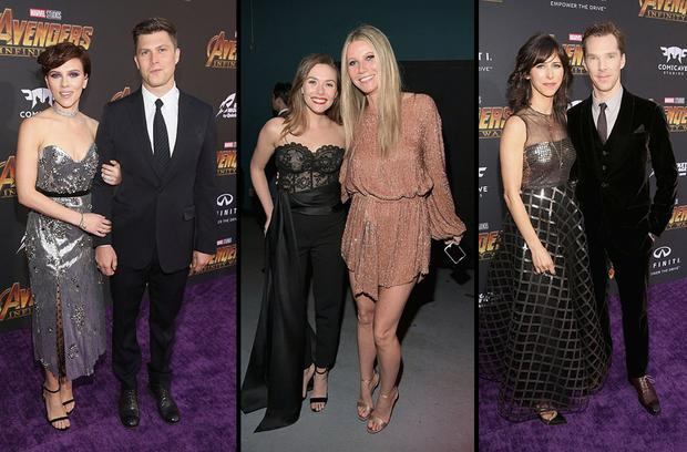 (L to R) Scarlett Johansson and Colin Jost, Elizabeth Olsen and Gwyneth Paltrow and Sophie Hunter and Benedict Cumberbatch at the Avengers: Infinity War premiere