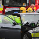 Members of the Emergency services on Wellngton Quay, Dublin following a Motor Accident. Photo Gareth Chaney Collins