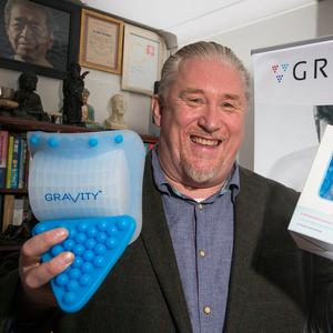 Dr. Shane Murnahan pictured with his orthopaedic device 'Gravity'. Photo: Colin O'Riordan