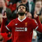 Liverpool's Mohamed Salah celebrates scoring their first goal. REUTERS/Phil Noble