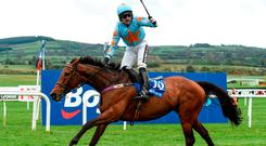 Sceaux sweet: Patrick Mullins celebrates after riding Un De Sceaux to victory at Punchestown yesterday. Photo: Matt Browne/Sportsfile