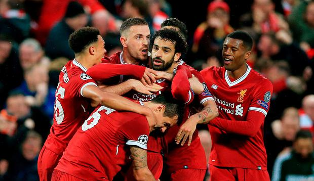 Liverpool's Mohamed Salah celebrates scoring his side's first goal of the game during the UEFA Champions League, Semi Final First Leg match at Anfield