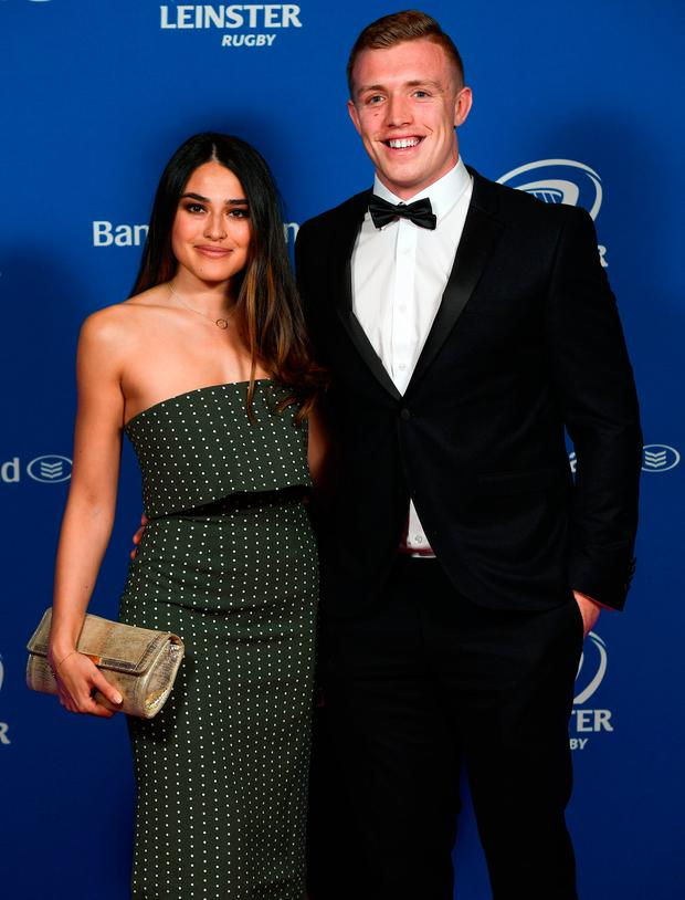 Dan Leavy and Aoife Rafter at the Leinster Rugby awards dinner in the InterContinental Hotel last night. Photo: Sportsfile