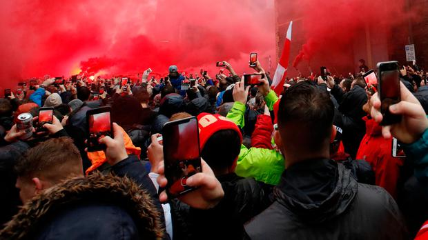 Liverpool fans outside the stadium before the match. Action Images via Reuters/Carl Recine