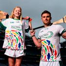 Cork hurler Eoin Cadogan pictured with Lucan Sarsfields player Leah Dunne, aged 13, at the launch of the John West National Féile Competitions in Croke Park. Photo: Sportsfile