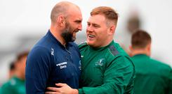John Muldoon, left, and Conor Carey during Connacht squad training at the Sportsground in Galway. Photo: Eóin Noonan/Sportsfile