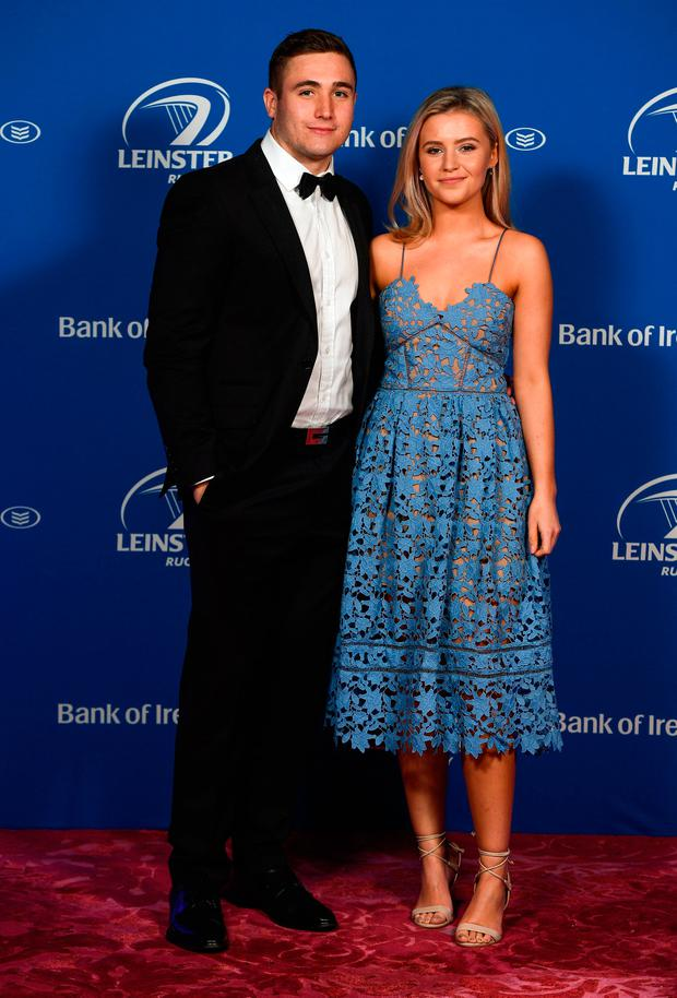 Jordan Larmour and Lucy Byrne at the Leinster Awards ball at the InterContinental Dublin