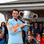 24 April 2018; Jockey Patrick Mullins celebrates with the cup after winning the BoyleSports Champion Steeplechase on Un De Sceaux at Punchestown Racecourse in Naas, Co. Kildare. Photo by Matt Browne/Sportsfile