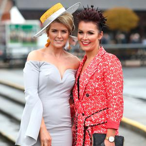 Donna Macken, left and Rosie Kirk, from, Newry, at the first day at the Punchestown Races. Picture: Damien Eagers