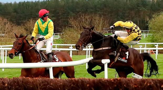 Al Bourm Photo ridden by Jockey Paul Townend (right) collides with Finian's Oscar ridden by Jockey Robbie Power (left) during day one of the Punchestown Festival 2018 at Punchestown Racecourse, County Kildare.
