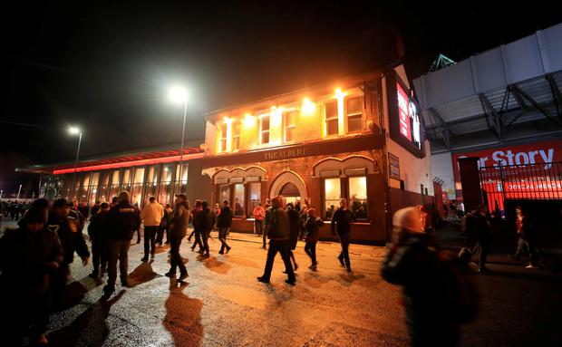 A view of The Albert pub on Walton Breck Road after the UEFA Champions League, Semi Final First Leg match at Anfield, Liverpool. Picture: Peter Byrne/PA Wire