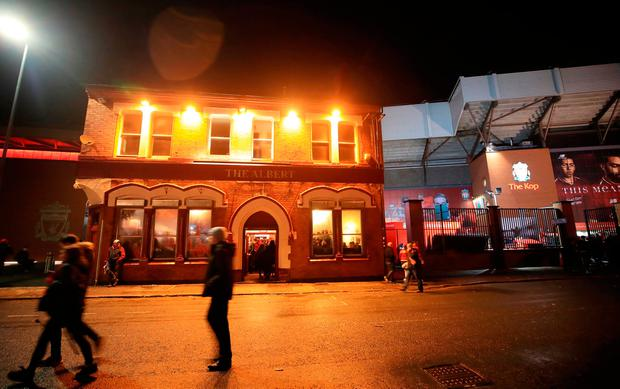 A view of The Albert pub on Walton Breck Road after the UEFA Champions League, Semi Final First Leg match at Anfield, Liverpool. Tuesday April 24, 2018. Police are investigating