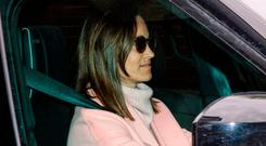 Pippa Middleton, the sister of Catherine, Duchess of Cambridge leaves Kensington Palace by car on April 24, 2018 in London, England