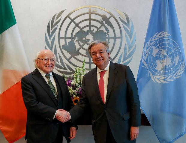 Visit to New York by President Higgins and his wife Sabina Photo: Maxwell's