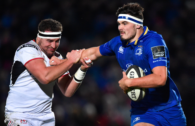 Leinster's Max Deegan hands off Ulster's Rob Herring during their one-sided PRO14 clash at the RDS in January. Photo: Sportsfile