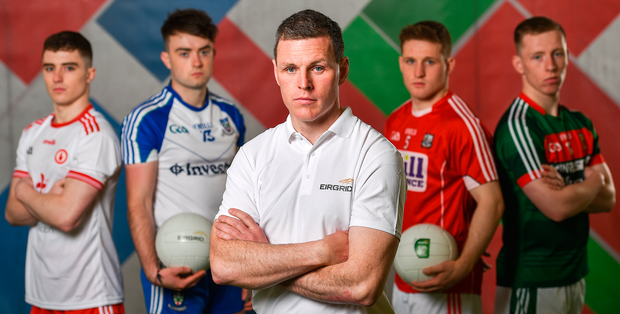 Conor Gormley with Conor Shields (Tyrone), Fergal Hanratty (Monaghan), Liam O'Donovan (Cork), and Ryan O'Donoghue (Mayo) at the launch of the EirGrid U-20 All-Ireland Football Championship. Photo: Sportsfile