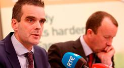 IFA president Joe Healy (left) and Martin Stapleton, IFA farm business chairman, at a media briefing yesterday. Photo: Karen Morgan