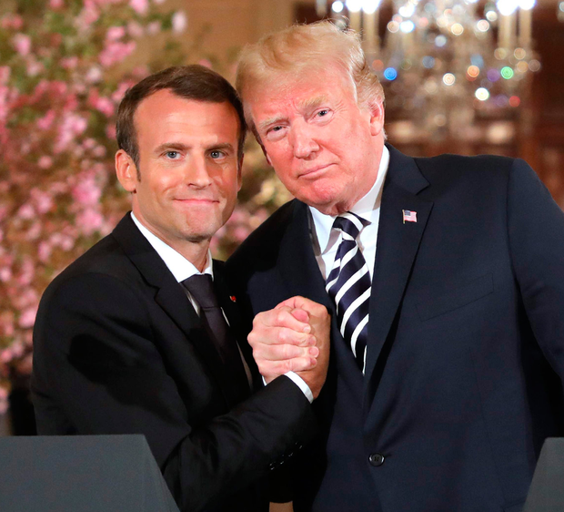 French President Emmanuel Macron and US President Donald Trump at an earlier joint press conference. Photo: Getty Images