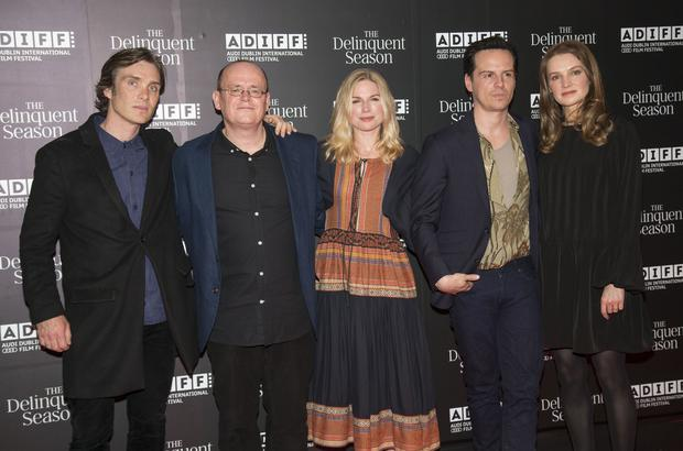 Murphy with Mark O'Rowe and co-stars Eva Birthistle, Andrew Scott and Catherine Walker. Photo: Colin O'Riordan