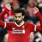 Mo Salah celebrates a goal during Liverpool's win over Roma. Photo: Reuters