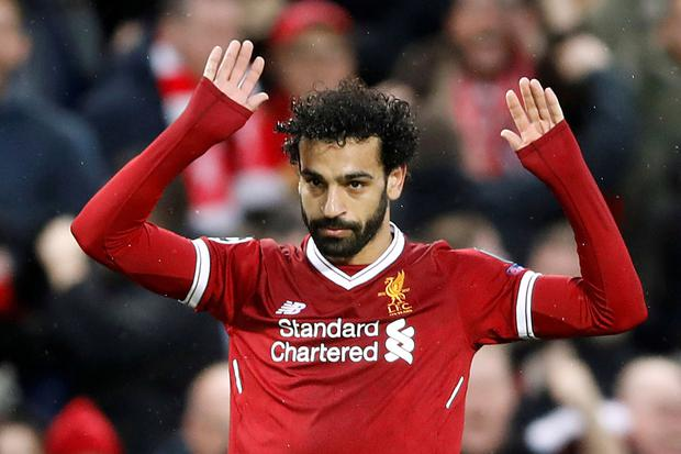 Mo Salah celebrates a goal during Liverpool's Champions League win over Roma on Tuesday night. Photo: Reuters