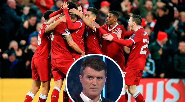 Liverpool celebrate against Roma and (inset) Roy Keane