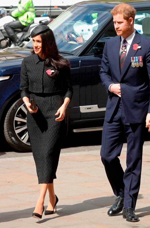 Prince Harry and Meghan Markle attend an Anzac Day Service of Commemoration and Thanksgiving at Westminster Abbey on April 25, 2018 in London, England