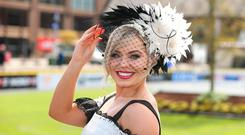 Anna Geary, a judge in the best dressed competition at the Punchestown Races in Co. Kildare. Picture: Damien Eagers