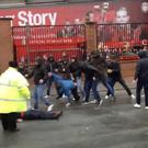 Roma thugs attack innocent Liverpool fans @DanRoan/Twitter