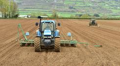 Farmer Eval Mc Donnell from Mortarstown Co Carlow keeping ahead of contractor Dan Rogers sowing fodder beet. Photo Roger Jones.