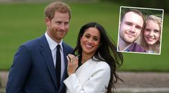 Prince Harry and Meghan Markle, inset is Celé Brits and Lawrence Mason