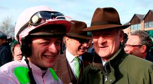Jockey David Mullins (left), trainer Willie Mullins (right) and owner Rich Ricci (centre) after Faugheen wins the Ladbrokes Champion Stayers Hurdle during day three of the Punchestown Festival 2018 at Punchestown Racecourse, County Kildare. Thursday April 26, 2018. Brian Lawless/PA Wire