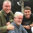 Ryan O'Saughnessy with Eurovision legends Charlie McGettigan and Paul Harrington