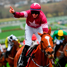 Jack Kennedy celebrates after guiding Samcro to victory at Cheltenham last month – Gordon Elliott's exciting novice hurdler is taken to make the step-up in grade today. Photo: Ramsey Cardy/Sportsfile