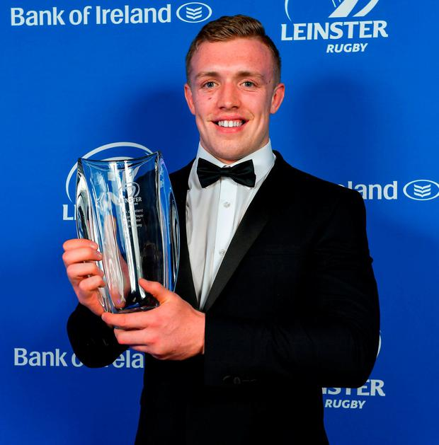 Dan Leavy with his Bank of Ireland Players' Player of the Year award. Photo: Brendan Moran/Sportsfile